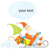 Santa Claus rides in a sleigh. Santa Claus jolly rides in a sleigh with a gifts Stock Photography