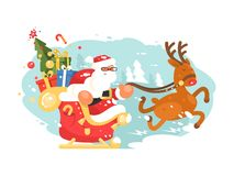 Santa Claus rides in sleigh. With gift boxes on deer. Vector illustration Royalty Free Stock Photos