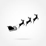 Santa Claus rides in a sleigh Royalty Free Stock Images