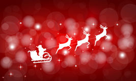 Santa Claus rides in a sleigh in harness on the reindeer Royalty Free Stock Images