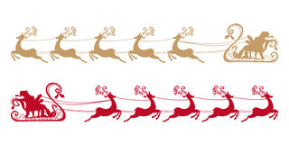 Santa Claus rides in a sleigh in harness. On the reindeer. Silhouettes set. Vector illustration. Christmas symbol. Retro style Royalty Free Stock Images