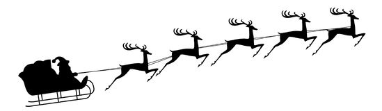 Santa Claus rides in a sleigh in harness on the reindeer. Vector Stock Images