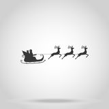 Santa Claus rides in a sleigh in harness on the reindeer. Vector Royalty Free Stock Image