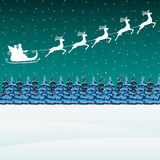 Santa Claus rides in a sleigh in harness on the reindeer. Vector Stock Photo