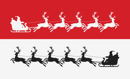 Santa Claus rides in sleigh pulled by reindeer. Merry Christmas banner Stock Photography