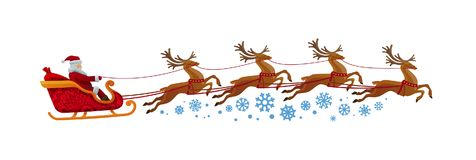 Santa Claus rides in sleigh with reindeer. Christmas, xmas, new year concept. Vector Illustration