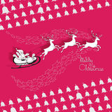 Santa Claus rides in a sleigh. Vector Christmas card of Santa Claus rides in a sleigh in harness on the reindeer on pink background Royalty Free Stock Photos
