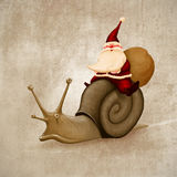 Santa Claus rides a snail. For delivery the gifts vector illustration