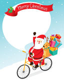 Santa Claus Riding Bicycle With Reindeer Royalty Free Stock Images
