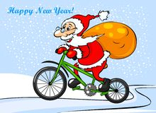 Santa Claus is riding on a bike. Greeting card. Happy Santa Claus is riding on a bicycle Stock Image