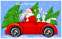 Santa Claus is riding on cabriolet with hares. Royalty Free Stock Photos