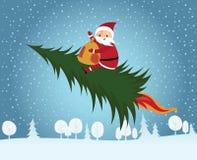 Santa Claus riding Christmas tree Royalty Free Stock Images