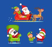 Santa Claus Riding Deer Sledge with Elf Icon. Isolated on blue background. Vector illustration with Santa preparing for Christmas with help of his friend vector illustration