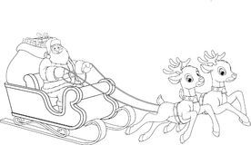 Santa Claus is riding on with gifts. Vector illustration, Santa Claus is flying across the sky on a sleigh with deer, giving gifts, a Christmas holiday Royalty Free Stock Photos