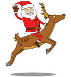 Santa Claus riding his deer Royalty Free Stock Photography