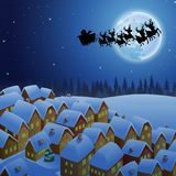 Santa Claus riding his reindeer sleigh flying in the sky. Illustration of Santa Claus riding his reindeer sleigh flying in the sky Stock Image