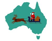 Santa Claus riding on his sleigh in Australia Royalty Free Stock Images