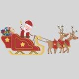 Santa claus riding his sleigh.3D. Santa claus riding his sleigh. 3D Stock Photography