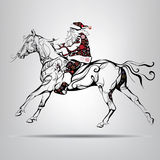 Santa Claus riding on a horse. Vector illustration Royalty Free Stock Photo