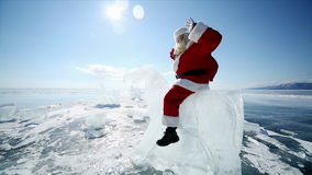 Santa Claus Riding the Ice Knight stock footage
