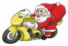 Santa claus riding motocycle. Santaclaus riding a yellow motorcycle carrying a red sack of gifts Stock Image