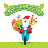 Santa Claus Riding Motorcycle With Reindeer Image stock