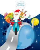 Santa Claus Riding Motorcycle With Reindeer sur la terre Images libres de droits