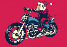Santa claus riding motorcycle. Vector of Santa claus riding motorcycle Stock Photography