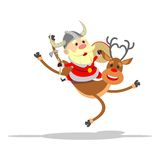 Santa Claus riding a reindeer. Santa Claus in Viking costume riding on a deer Royalty Free Stock Images