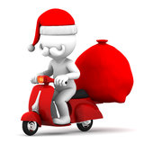 Santa Claus riding a scooter Royalty Free Stock Photos