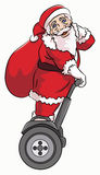 Santa claus riding segway. With red sack containing some gift Royalty Free Stock Photography