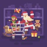 Santa Claus riding a shopping cart with his elf in a supermarket. Santa Claus riding a shopping cart with his elf in a toy supermarket. Christmas flat Stock Image