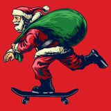 Santa claus riding skateboard while bringing a full bag of chris. Vector of santa claus riding skateboard while bringing a full bag of chris Royalty Free Stock Photos