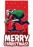 Santa claus riding skateboard christmas card design. Vector of santa claus riding skateboard christmas card design Stock Photography