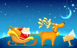 Santa Claus riding in sledge on Christmas Royalty Free Stock Image