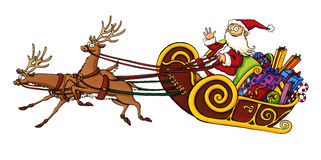 Santa Claus riding in a sleigh. Cute cartoon drawing of Santa Claus in a sleigh pulled by two reindeer. Perfect for illustrating seasons greetings and anything Stock Image
