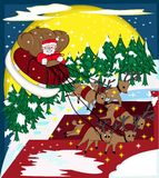 Santa Claus Riding Sleigh in the Bright Christmas. An illustration of Santa Claus riding young reindeer sleigh in the bright Christmas night Stock Photos