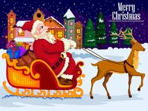 Santa Claus riding sleigh with gift for Merry Christmas and Happy New Year. In vector Royalty Free Stock Photo