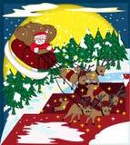 Santa Claus Riding Sleigh i den ljusa julen  Arkivfoton