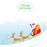 Santa Claus Riding On Sleigh. Merry Christmas Xmas Happy New Year Objects Animals Festive Celebrations Royalty Free Stock Photos