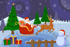 Santa Claus riding sleigh pulled by reindeer in Merry Christmas. Vector illustration of Santa Claus riding sleigh pulled by reindeer in Merry Christmas Stock Photos