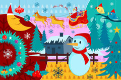 Santa Claus riding sleigh pulled by reindeer in Merry Christmas. Vector illustration of Santa Claus riding sleigh pulled by reindeer in Merry Christmas Royalty Free Stock Photography