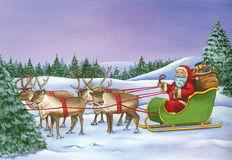 Santa Claus riding on sleigh with reindeer on Christmas Day.  Stock Photo