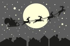 Santa Claus riding in a sleigh. With harness on the reindeer on the urban city backgorund. Roofs and sky with moon background. Vector illustration Royalty Free Stock Images