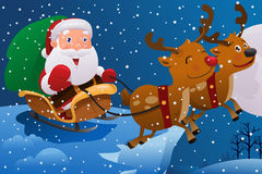 Santa Claus Riding the Sleigh Royalty Free Stock Images