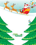 Santa Claus Riding On Sleigh. Xmas Happy New Year Objects Festive Celebrations Royalty Free Stock Photography