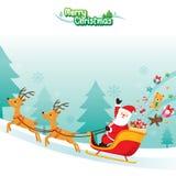 Santa Claus Riding On Sleigh. Xmas Happy New Year Objects Festive Celebrations Stock Photos