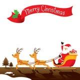 Santa Claus Riding On Sleigh. Xmas Happy New Year Objects Festive Celebrations Stock Photography