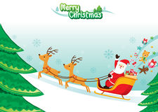 Santa Claus Riding On Sleigh. Xmas Happy New Year Objects Festive Celebrations Royalty Free Stock Images