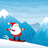 Santa Claus riding on a snowboard. Santa Claus riding on a snowboard in the mountains Stock Photography